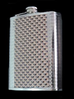 Hip Flask Chrome with Mottled Vinyl Centre Panel and Ridged Edge Panels 9oz