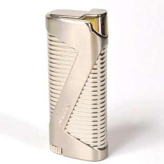 Gas Lighter Jobon Brand Single Jet - High Polish Chrome with Corrugations and Satin Chrome Detail