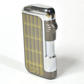 Gas Lighter Menghu Brand Single Jet - High Polish Chrome and Grey with Pattern