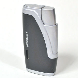 Gas Lighter Honest Brand Twin Jet - Satin Chrome and Black