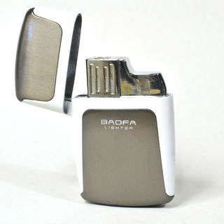 Gas Lighter Baofa Brand Single Jet - Satin Grey and Off-White Detail
