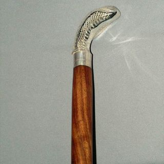 Walking Stick (One Piece) - Engraved Silver Handle (Cobra)