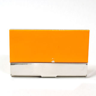 Card Holder Chrome Metal and Orange Leatherette