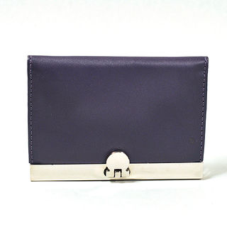 Card Holder Chrome Metal Deep Purple Leatherette with 3 Compartments