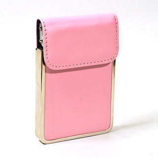 Card Holder Chrome Metal Pink Leatherette with Card Lifting Flap