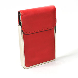Card Holder Chrome Metal Scarlet Leatherette with Card Lifting Flap