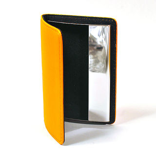 Card Holder Orange Leatherette with Chrome Metal Internal Box Frame