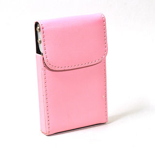 Card Holder Pink Leatherette Over Metal Frame with Card Lifting Flap