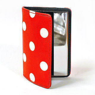 Card Holder Red Leatherette and White Polka Dots with Chrome Metal Internal Box Frame