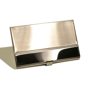 Card Holder Satin Chrome Metal with High Polish Chrome Bar Feature