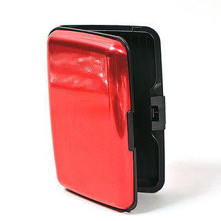 Card Holder Scarlet Anodised High Polish Metal
