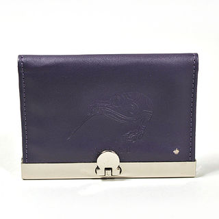 Card Holder Deep Purple Leatherette with 3 Compartments and Embossed Kiwi