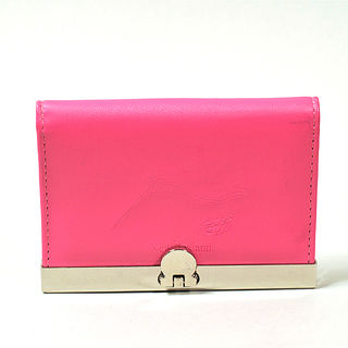 Card Holder Dark Pink Leatherette with 3 Compartments and Embossed Kiwi