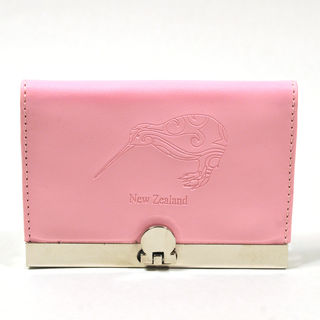 Card Holder Candy Pink Leatherette with 3 Compartments and Embossed Kiwi
