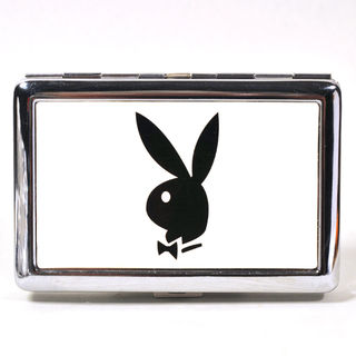 Cigarette Case Metal - Medium Size - Playboy Bunny White