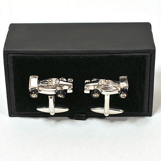 Cufflinks Chrome Metal Formula 1 Car