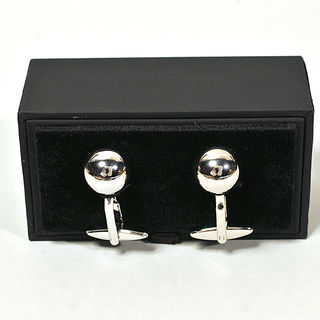 Cufflinks Chrome Metal Bowling Ball