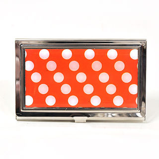 Card Holder High Polish Chrome Metal White Polka Dots on Red