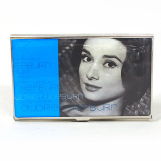 Card Holder High Polish Chrome Metal Audrey Hepburn Image