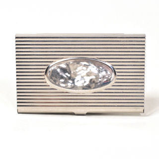Card Holder High Polish Chrome Metal with Engraving Oval and Corrugations