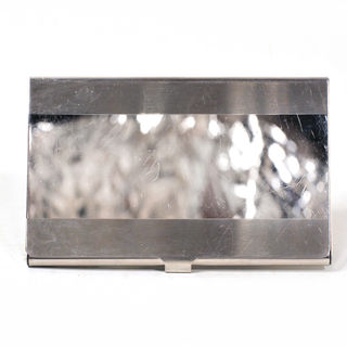 Card Holder High Polish Chrome Metal with 2 Satin Bands