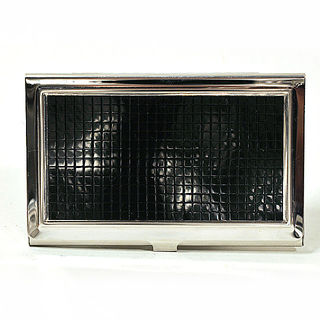 Card Holder High Polish Chrome Metal Black Tile Inset