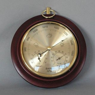 Single Dial Barometer with Thermometer & Hygrometer (Mahogany Stain)