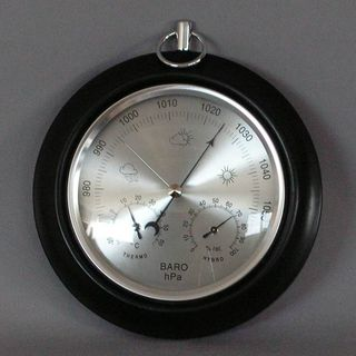Single Dial Barometer with Thermometer & Hygrometer (Black Stain)
