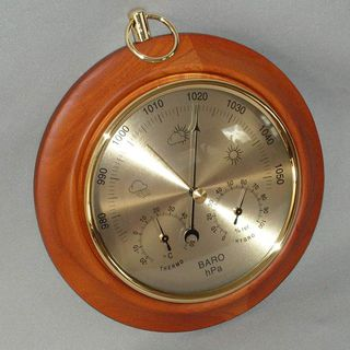 Single Dial Barometer with Thermometer & Hygrometer (Rimu Stain)