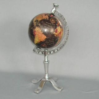 Rotating Coloured Globe in Nickel-Plated Stand (42cm High)