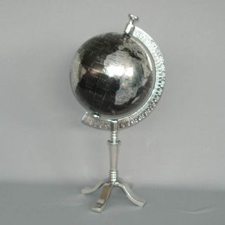 Rotating Nickel-Plated Globe in Nickel-Plated Stand (42cm High)