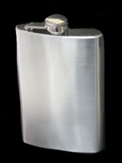Hip Flask Brushed Chrome 9oz