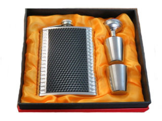 Hip Flask High Polish Chrome Gift Set - 8oz Black/Chrome with 2 SS Cups and Filler