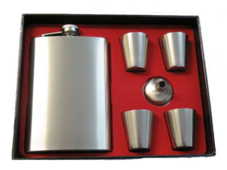 Hip Flask Satin Chrome Gift Set - 9 oz with 4 Plain Chrome Cups and Filler