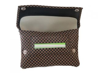 Tobacco Pouch Brown/Black Checked Leather Double Black Stud Tapered