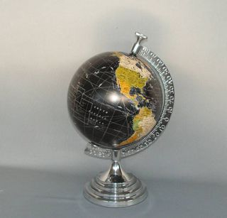 Rotating Coloured Globe in Cast Aluminium Stand (36cm High)