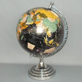 Rotating Coloured Globe in Cast Aluminium Stand (50cm High)