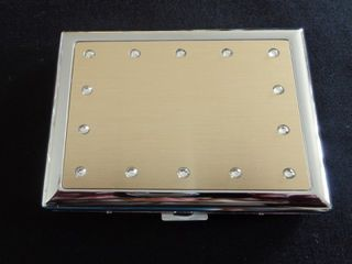 Cigarette Case Metal - Large Size - High Polish Chrome - Gold Anodising with Crystals