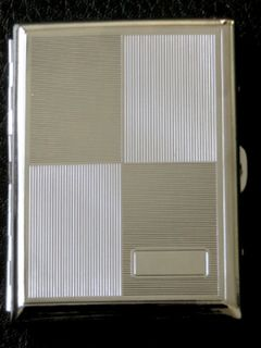 Cigarette Case Metal - Various Sizes - High Polish Chrome - Alternating Pattern of High Polish and B