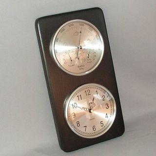 Barometer/Hygrometer/Thermometer and Clock (Black Stain)
