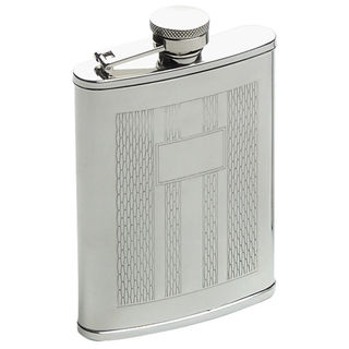 Hip Flask Artex Satin Finish Wrap-Around Panel with Etched Design - 6oz.