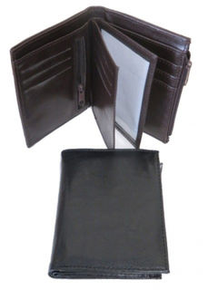 Wallet Black/Brown Leather for Coins/Credit Cards