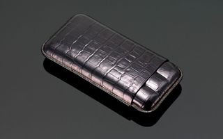 Crocodile Skin Print Leather Cigar Case (3 Sticks) - Black