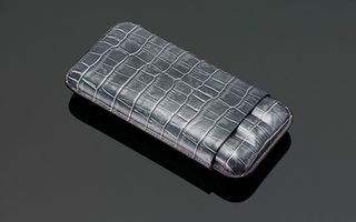 Crocodile Skin Print Leather Cigar Case (3 Sticks) - Dark Grey
