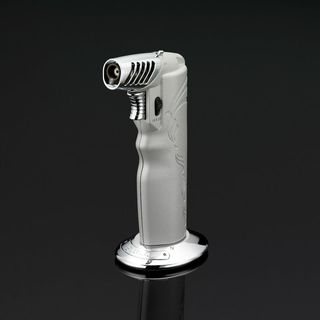Siglo Oval Table Torch Lighter - Metallic Silver