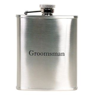 Hip Flask Coyote Polished Chrome Engraved 'Groomsman' 6 oz