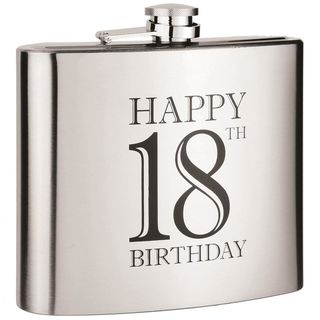 Hip Flask Coyote Polished Chrome Engraved 'Happy 18th Birthday' 32 oz