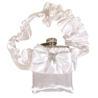 Hip Flask Coyote Polished Chrome White Garter 3 oz