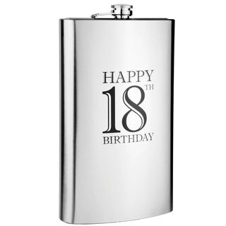 Hip Flask Coyote Polished Chrome Engraved 'Happy 18th Birthday' 64 oz
