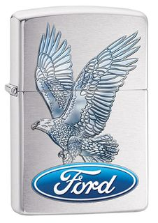 Zippo Ford Eagle - Brushed Chrome